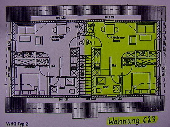 Zeichnung der Wohnungen im oberen Stockwerk
